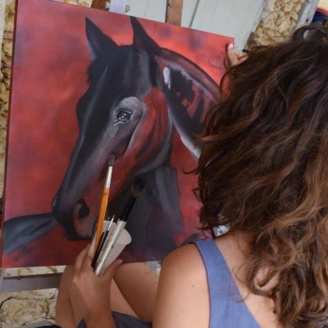 peintre cheval noir
